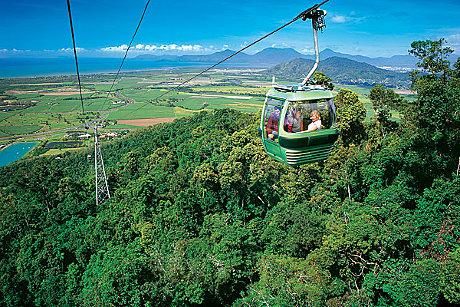 Enjoy spectacular views on Skyrail Rainforest Cableway